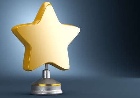 star award: Golden star award on dark blue background. 3d render