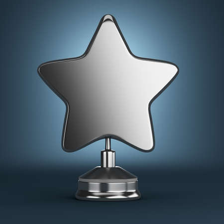 Silver star award on dark blue background. 3d render Фото со стока
