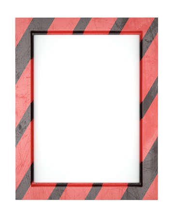 whit: Blank striped metal frame isolated on whit background. 3d render
