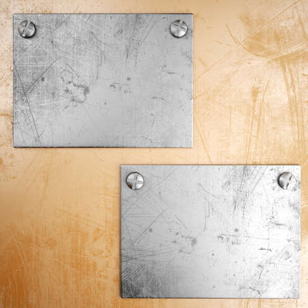 Scratched metal backgrounnd with metal plate. 3d render