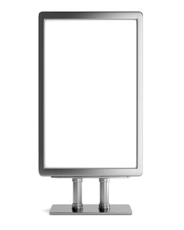 bill board: Blank metallic billboard isolated on white background. 3d render