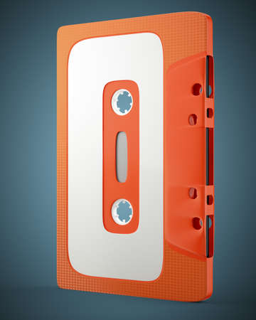 cassette tape: Old audio cassette tape on dark blue background. 3d render