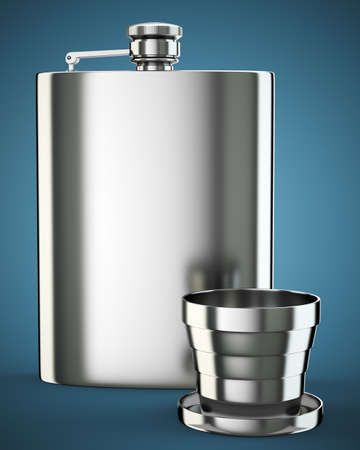 hip flask: Metall hip flask with cup on dark blue background. 3d render