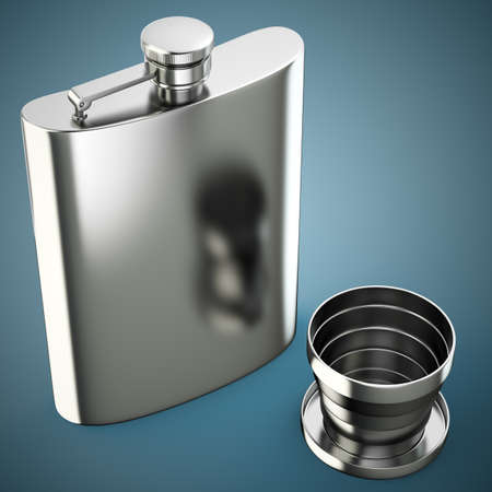 metall: Metall hip flask with cup on dark blue background. 3d render