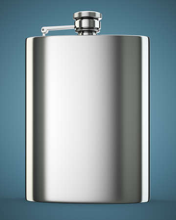 hip flask: Metall hip flask on dark blue background. 3d render Stock Photo
