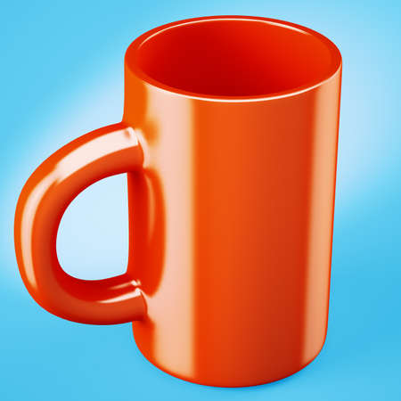 Red coffee cup on bright blue background. 3d render Stock Photo