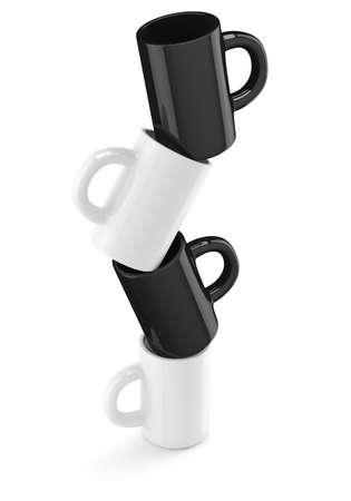 White and black coffee cups isolated on white background. 3d render