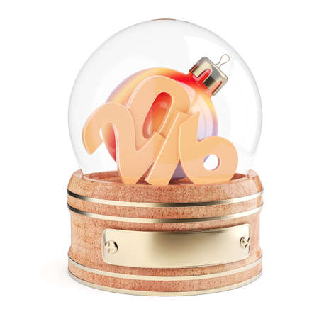 snow globe: Snow globe with 2016 digits and christmas bauble isolated on white background. 3d render