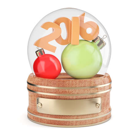 snowglobe: Snow globe with 2016 digits and christmas bauble isolated on white background. 3d render
