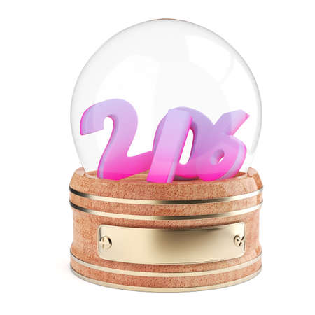 snowglobe: Snow globe with 2016 digits isolated on white background. 3d render