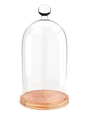 흰색 배경에 고립 된 나무 접시에 유리 돔. 3d 렌더링