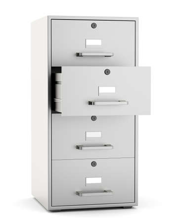 File cabinet with open drawer isoalted on white background. 3d render