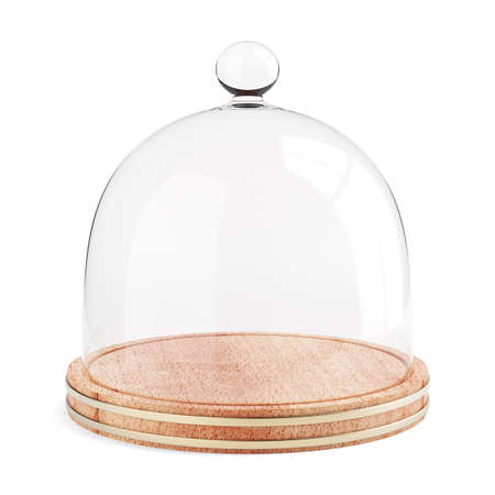 Glass dome on the wooden plate isolated on white background. 3d render