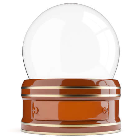snowglobe: Empty snow globe isolated on white background. 3d render Stock Photo