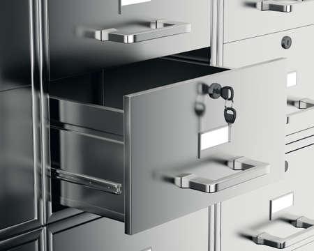 열린 서랍이있는 파일 캐비닛. 3 차원 렌더링 스톡 콘텐츠