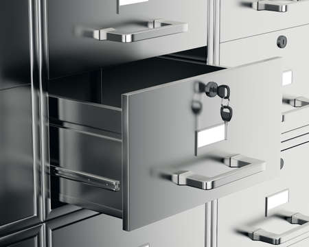 File cabinet with open drawer. 3d render