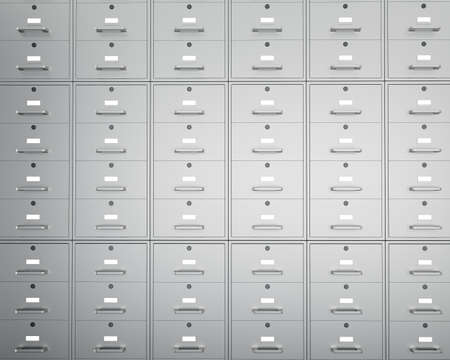filing system: Wall of file cabinets with closed drawers. 3d render Stock Photo