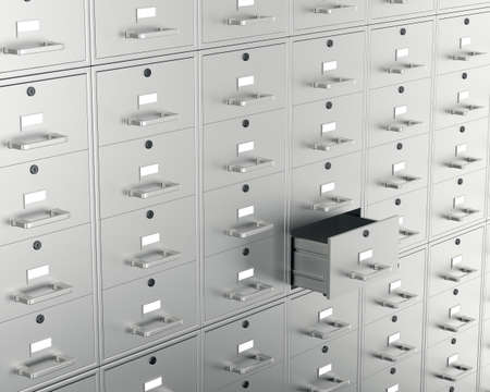 filing system: File cabinet with open drawer. 3d render