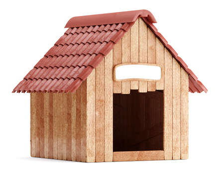 Wooden doghouse isolated on white background. 3d render