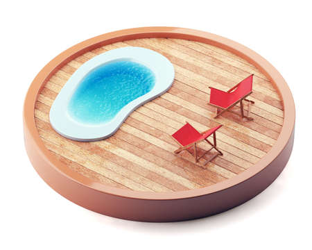 recline: Lounge chairs near the pool on wooden plate isolated on white background. 3d render Stock Photo
