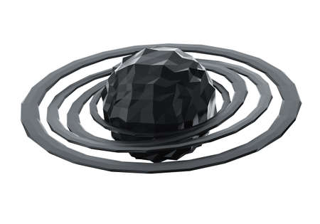 Abstract polygonal black planet with ring isolated on white background. 3d render Stock Photo