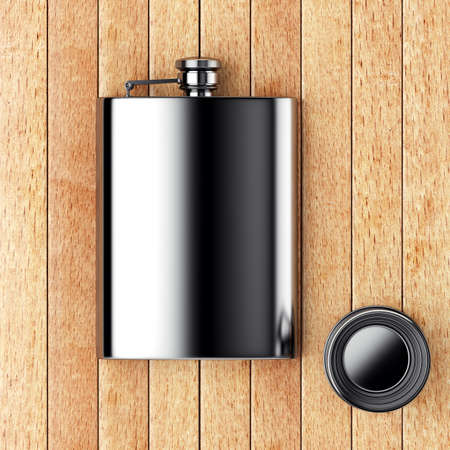 metall: Metall hip flask with cup on the wooden table. 3d render