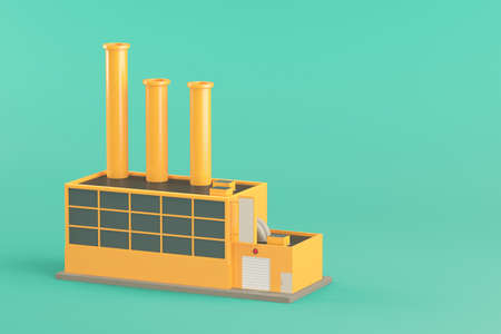 industry architecture: Industrial factory building  on light green  background. 3d render