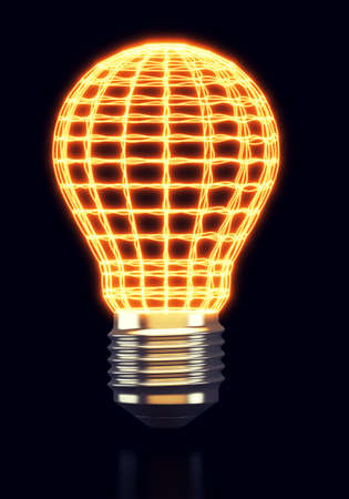 Glowing abstract light bulb on black background. 3d rendering