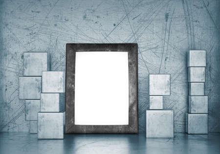 Blank frame in empty room with metal cubes. 3d rendering