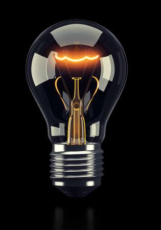 black light: Classic glowing light bulb on black background. 3d rendering
