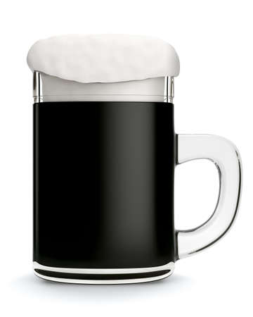 dark beer: Glass mug with dark beer isolated on white background. 3d rendering