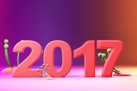 2017 new year figures with fantasy plants on gradient background