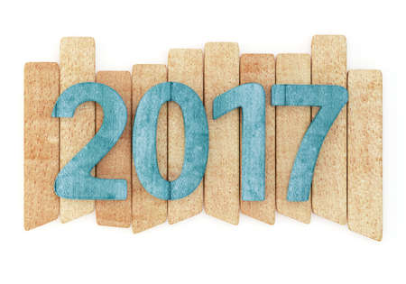 newyear: 2017 New year wooden digits on wooden planks. Isolated on white background. 3d rendering