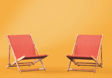 Wooden chaise lounges on orange background. 3d rendering Stock Photo