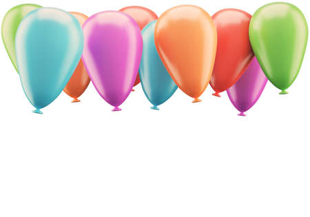 festivity: Colorful balloons isolated on white background. 3d rendering