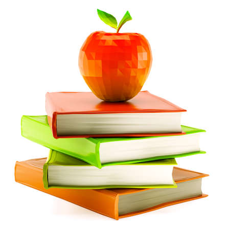 Low poly red apple placed on stack of books isolated on white background. 3d rendering