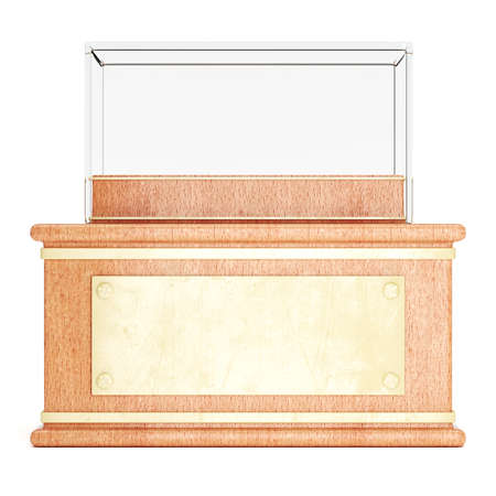 Empty glass showcase on wooden pedestal with golden plate in front isolated on white background. 3d rendering Stock Photo