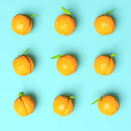 Nine apricots on bright background, top view. 3d rendering Stock Photo