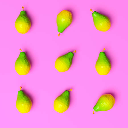 Nine pears on bright background, top view. 3d rendering