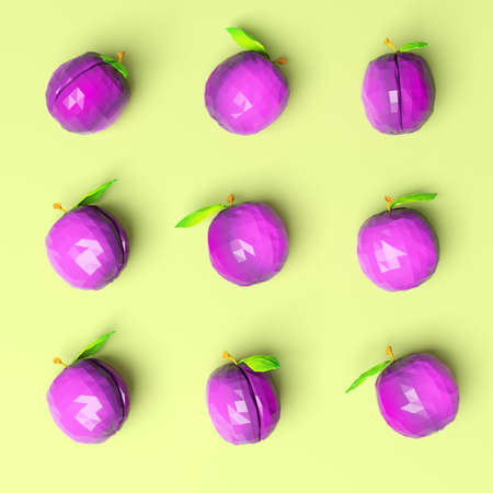 Nine plums on bright background, top view. 3d rendering