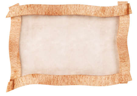 Blank old paper with wood frame isolated on white background. 3d rendering
