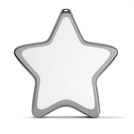 Blank empty star mockup template isolated on white background. 3d rendering
