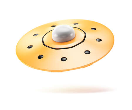 Cartoon styled yellow ufo isolated on white background. 3d rendering