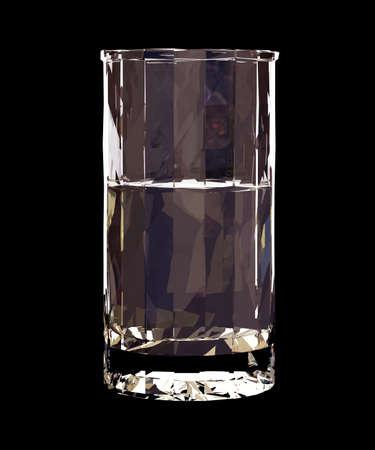 Low polyglass of vodka on black background. 3d render