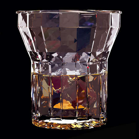 Low poly glass of whiskey with ice on black background. 3d render