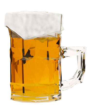 Low poly mug of beer isolated on white background. 3d render