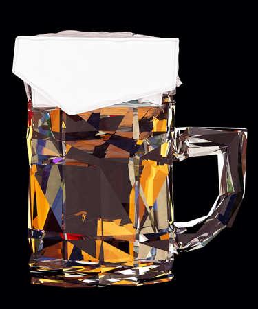 Low poly mug of beer on black background. 3d render Stock Photo