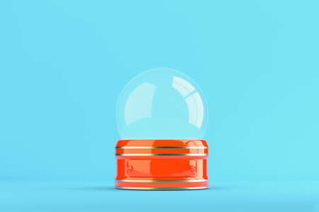 Empty red snow globe on bright blue background with copy space. 3d rendering