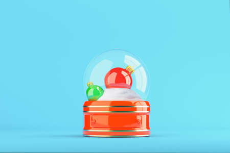 Snow globe with christmas balls on bright blue background. 3d rendering