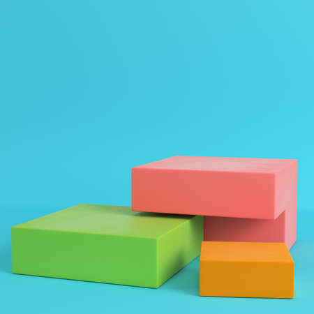 Colorfull boxes on bright blue background in pastel colors. Minimalism concept. 3d render